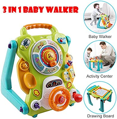 Leikf 3 in 1 Baby Sit-to-Stand Walker, Activity Center, Entertainment Table, Drawing Board with Music for 9-36 Months Toddlers (Multicolour)