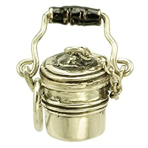 Coal Miner Lunch Pail 925 Sterling & Enamel Traditional Charm Pendant