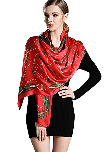 Women's Silk Scarf - Floral Print Soft Luxurious Large Shawl Neck Head Hair Wrap Neckerchief Flower Design