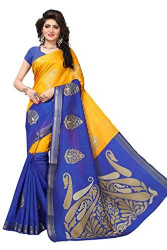 Shonaya Women`S Bhagalpuri Silk Woven Work Saree with Unstitched Blouse Piece (Yellow & Blue) by Shonaya