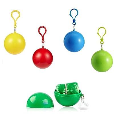 4 je Set Einweg Notfall Regenm/äntel Portable Haken Regenmantel Ball f/ür Aktivit/äten im darau/ßen SwirlColor Poncho Ball Regenumfang