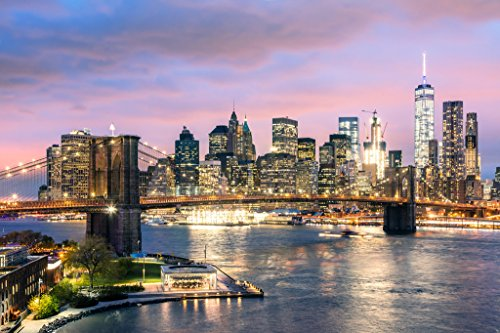 (Brooklyn Bridge and New York City Skyline at Dusk Photo Art Print Poster 18x12 inch)