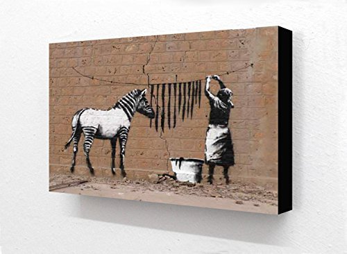 Banksy Zebra Washing Line Horizontal 6 x 4 Inches Postcard Size Block Mounted Print by Laminated Posters