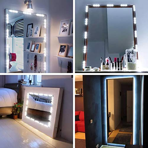 MEILLY 10ft 60leds LED Vanity Mirror Lights Kit,  LED Under Cabinet Lighting Kit, Dimmable Flexible Under Counter Closet Lights with Brightness Dimmer (White)