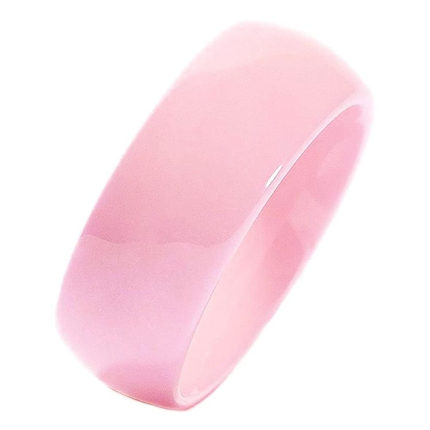 Amazon.com: Pink Ceramic Wedding Band Classic High Polished 8mm Men ...
