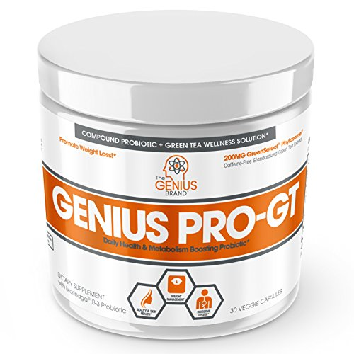Genius Probiotics for Weight Loss w/ Green Tea Extract for Women & Men – Shelf Stable Probiotic Natural EGCG Fat Burner Supplement, Digestive Health Pills for Bloating Relief and Belly Reduction –