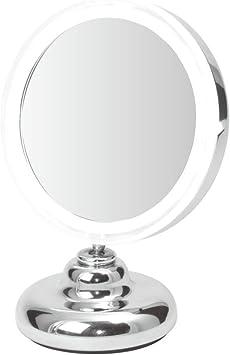 Espejo de Mesa Compacto Iluminado por LED - Aumento 5x - Operado ...