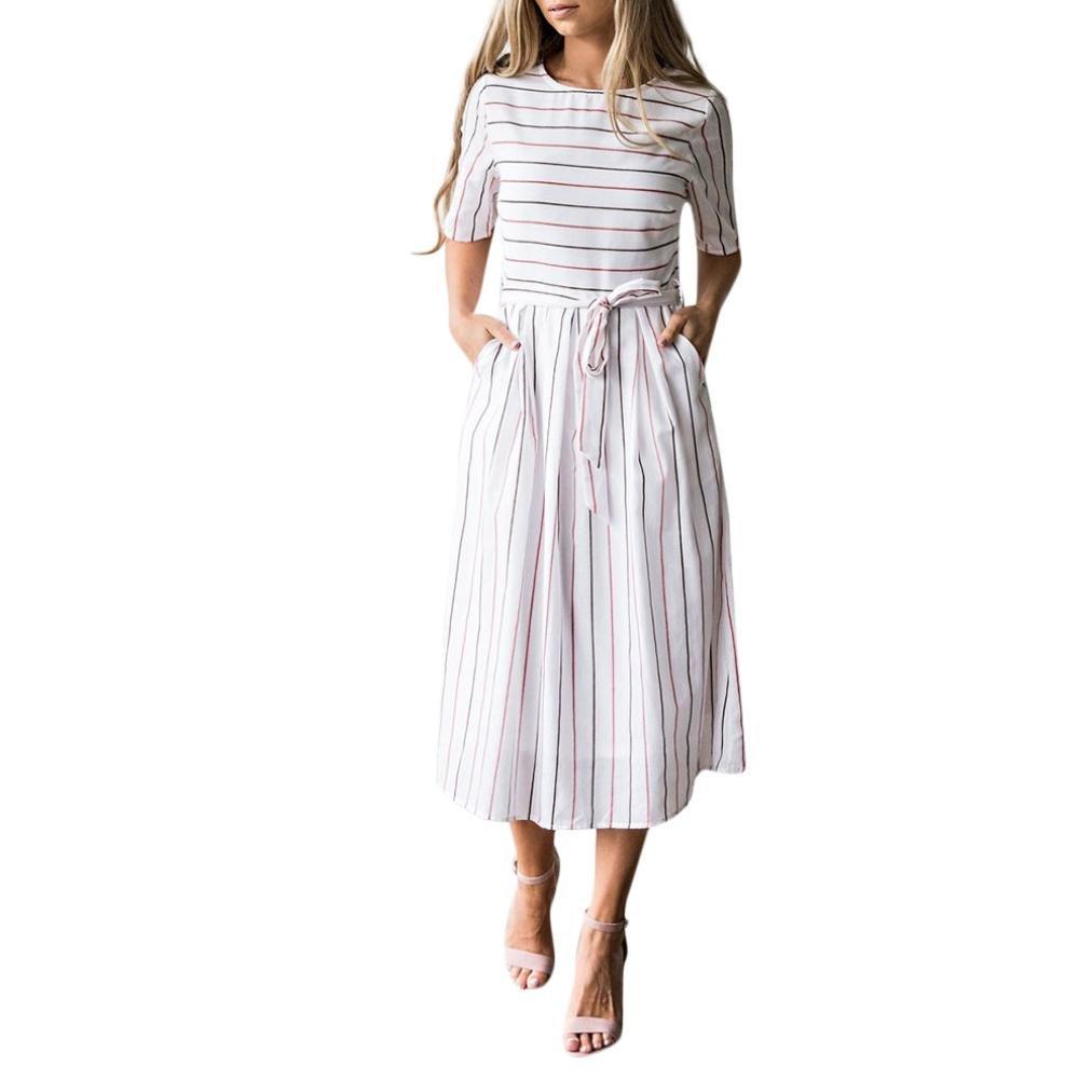 Damen Kleider Sommer Elegant Knielang Festlich Hochzeit Rockabilly Striped Sleeveless Casual Strand mit Taschen Kleid