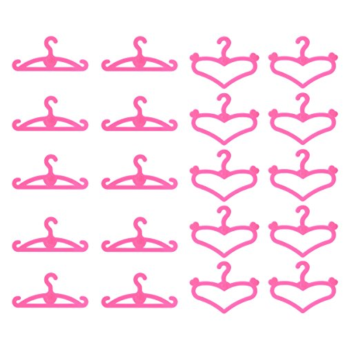 60 PCS Plastic Little Hangers for Doll Dress Clothes Gown Doll Clothes Accessories Best Girl Birthday Gift Pink