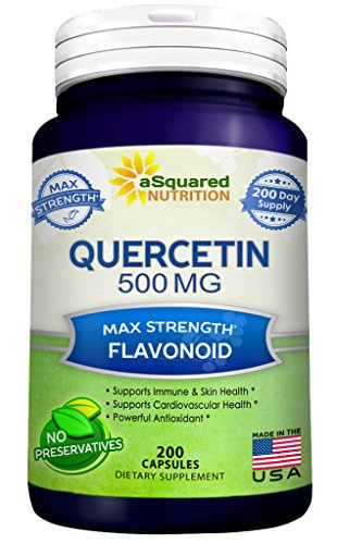 Pure Quercetin 500mg Supplement - 200 Capsules - Quercetin Dihydrate to Support Cardiovascular Health - Max Strength Powder Complex Pills to Help Improve Anti-Inflammatory & Immune Response