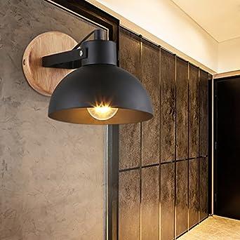 LED Moderna Lámpara de Pared,LED Lámpara de pared Interior Lámpara de pared。Lámpara de pared retro rústica restaurante escalera creativa lámpara de noche de madera sólida, negro + fuente de luz LED: Amazon.es: