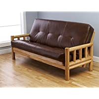 Lodge Futon in Natural Finish with Oregon Trail Saddle Mattress