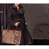 Puuli Leopard Grain Print PU Leather Women Handbag Tote Bag Shoulder Bag Purse