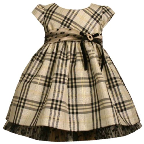 Bonnie Jean Baby/INFANT 12M-24M METALLIC-GOLD BLACK PLAID RHINESTONE O-RING Special Occasion Flower Girl Holiday Pageant Party Dress