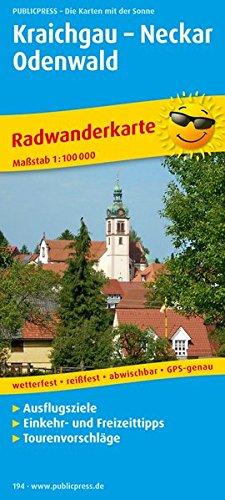 Kraichgau - Neckar - Odenwald: Radwanderkarte mit Ausflugszielen, Einkehr- & Freizeittipps, wetterfest, reissfest, abwischbar, GPS-genau. 1:100000 (Radkarte / RK)