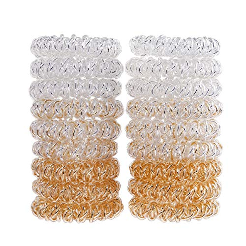 Miuance 18 Pack Spiral Hair Ties No Crease Elastic Ponytail Holders Phone Cord Traceless Hair Ring for Women Thick Hair -
