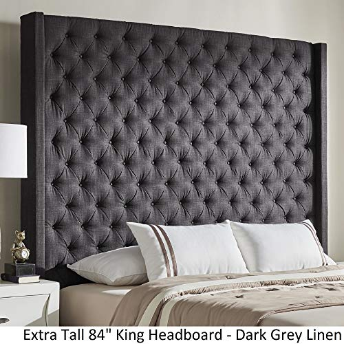 Inspire Q Naples Wingback Button Tufted Tall adboards by Artisan Charcoal King
