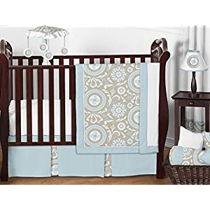 Blue and Taupe Hayden Gender Neutral Baby Bedding 11pc Girl or Boy Crib Set