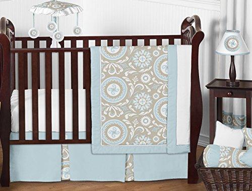 Bedding Baby Hayden - Blue and Taupe Hayden Gender Neutral Baby Bedding 11pc Girl or Boy Crib Set Without Bumper