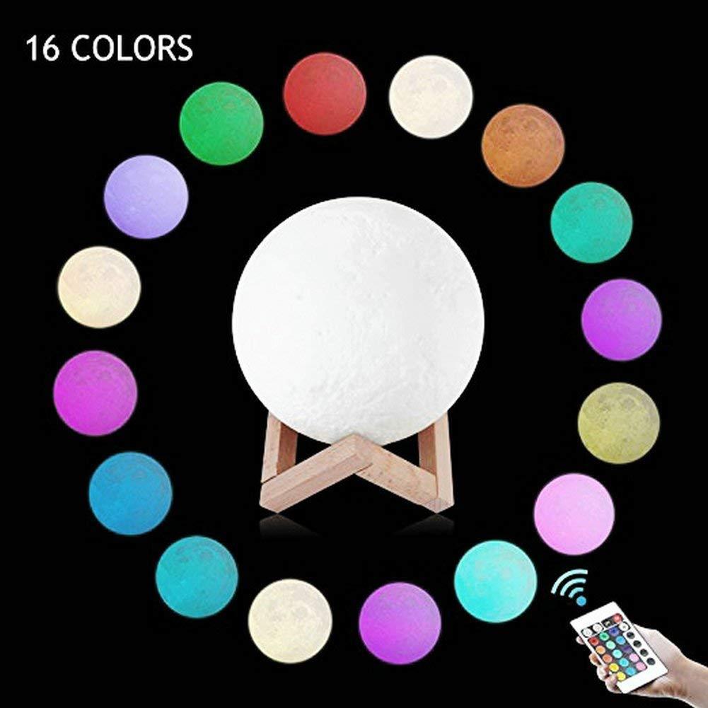 cadeau de f/êt 20 cm USB 16 couleurs changement de 3d lampe de contr/ôle de lumi/ère de lune avec support en bois pour chambre 3d Lampe de lune LED lumi/ère de contr/ôle /à distance
