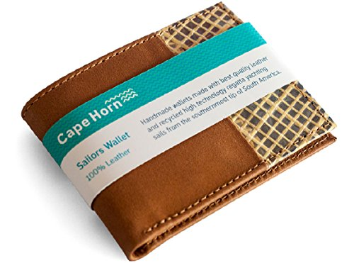 Americas Cup Yachting (Slim Brown Leather Wallet, MADE WITH RECYCLED KEVLAR YACHT SAILS, from brave sailors of southernmost tip of Chile, Slim Front Pocket Bifold wallet, captain sailing nautical gift. Boat & Sailors)