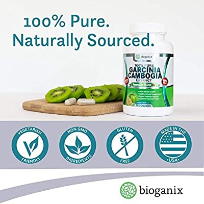 BioGanix 100% Pure Garcinia Cambogia Extract Premium 1600mg XL (120 Veggie Capsules - 2 Month Supply) Ultra Natural 60% HCA, Max Weight Loss Support