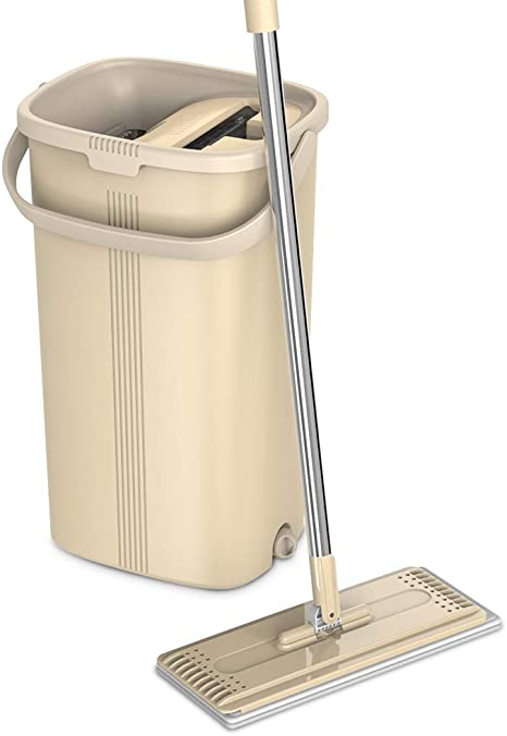 360° Flat Floor Mop And Bucket Set Microfiber Mop Heads Dry Wat Cleaner Cleaning