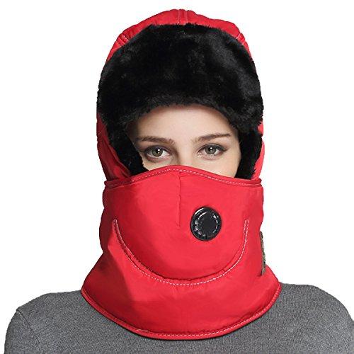 Hombres Winter Warm Bomber Hat Máscara A Prueba De Viento Winter Ear Flap Outdoor Sports Snow Máscara A Prueba De Viento Classic Rojo