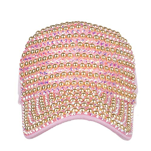 (CCSDR Womens Mens Baseball Caps Beaded Embroidered Unisex Adjustable Low Profile Hats Pink)