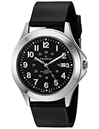 Peugeot Mens 24 Hour Army Military Stainless Black Rubber Band Watch Ideal For Expedition 1017M