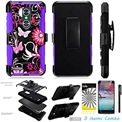 For ZTE MAX XL N9560 /3Items [Clear LCD Film]+Stylus Pen+[Impact Resistance] Dual Layer [Belt Clip] Holster Combo [KickStand] Phone Case Pink Butterfly Flower - Purple