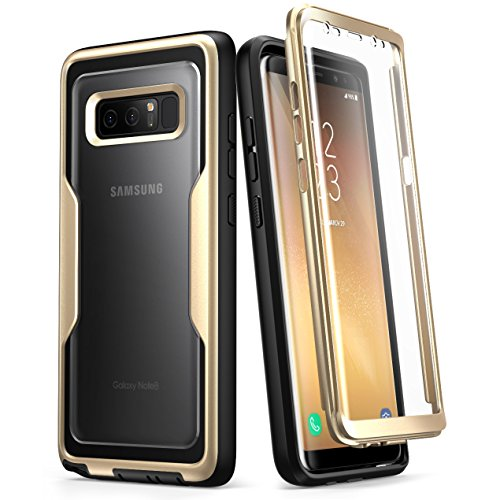 i-Blason Case for Galaxy Note 8, [Magma Series] Built-in Screen Protective Clear Back Cover with Holster [Heavy Duty] Belt Clip Shell (Gold)