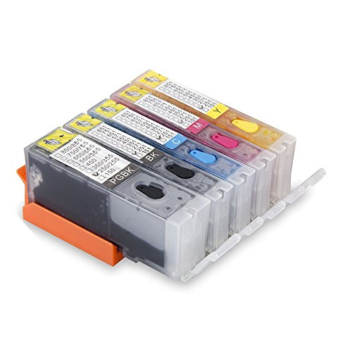 Aomya 5 Pack PGI-250 CLI-251 Refillable Ink Cartridge Full Ink with Auto Reset Chip Replacement for Canon Pixma IP8720 iX6820 MG7520 MG5500 MX922 MX920(1 PGBK, 1 Black, 1 Cyan, 1 Magenta, 1 Yellow)