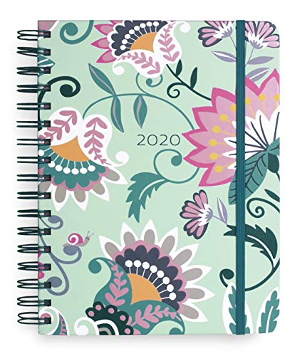 Vera Bradley Large 17 Month Daily Planner, 2019-2020 with Stickers and Daily, Weekly, Monthly Views, Mint Flowers