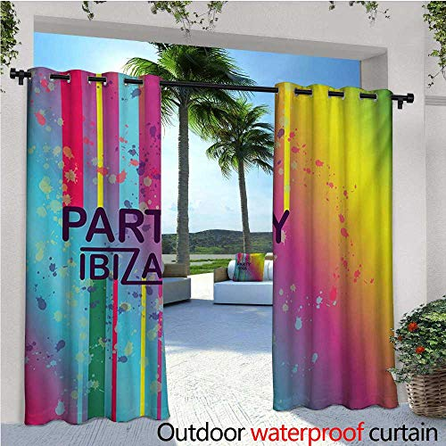 homehot Ibiza Patio Curtains Rainbow Colored Grunge Paint Splashes Design with Party Ibiza Summer Season Festivity Outdoor Curtain for Patio,Outdoor Patio Curtains W72 x L84 Multicolor