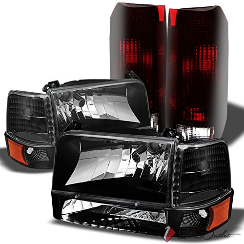 Xtune For 1992-1996 Ford F150/F250, Bronco Smoked Headlights Set + Smoked Red Tail Lights Combo 1993 1994 1995