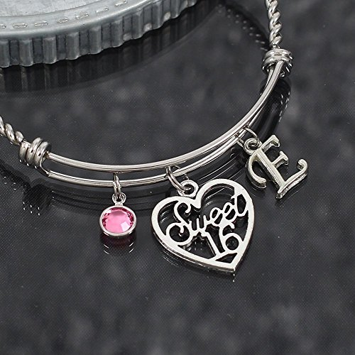 Customized Sweet 16 Birthday Expandable Stainless Steel Bangle Bracelet with Initial (Initials Stainless Steel Bracelet)