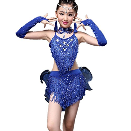[YC WELL Girl's Tassel Latin Dance Costume Rumba Samba Tango Ballroom Cha Cha Cami Children Dance Dress Party Stage(Blue,S)] (Ballroom Dance Costume For Kids)