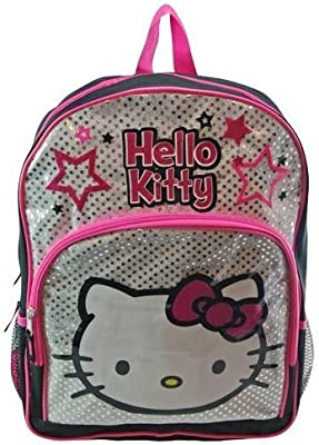 622e230356 Amazon.com  Hello Kitty 16 Large School Backpack Bag Black and Silver  Toys    Games