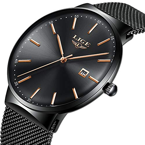 LIGE Ultra-Thin Mens Watches Stainless Steel Waterproof Analog Quartz Watch Men Fashion Black Mesh Band Wristwatch