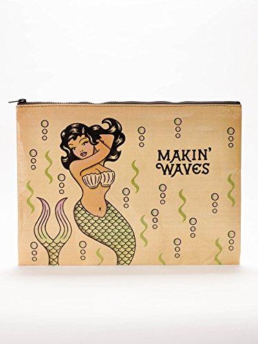 Blue Q Makin Waves Jumbo Zipper Pouch Make Up Bag