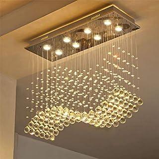 Saint Mossi Modern K9 Crystal Chandelier Lighting Flush Mount LED Ceiling Light Fixture Pendant Chandelier for Livingroom 8 GU10 Bulbs Required Length 30 inch x Width 12 inch x Height 26 inch