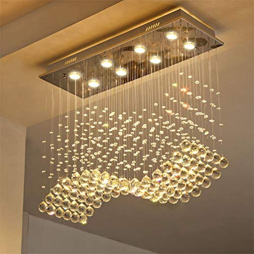 Saint Mossi Modern K9 Crystal Chandelier Lighting Flush Mount LED Ceiling Light Fixture Pendant Chandelier for Livingroom 8 GU10 Bulbs Required Length 30 inch x Width 12 inch x Height 26 inch