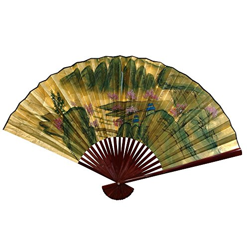 Oriental Furniture Gold Leaf Mountain Landscape Fan - 12