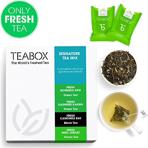 Teabox Premium Teas Sampler | 4 Varieties of 4 Teabags each | Includes: Kashmiri Kahwa Tea, Chamomile Ray Tea, Mint Green Tea, Jasmine Green Tea | Sealed at Source Freshness from India For Sale