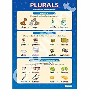 plurals english language educational wall chart poster in high gloss paper a1 840mm x 584mm. Black Bedroom Furniture Sets. Home Design Ideas