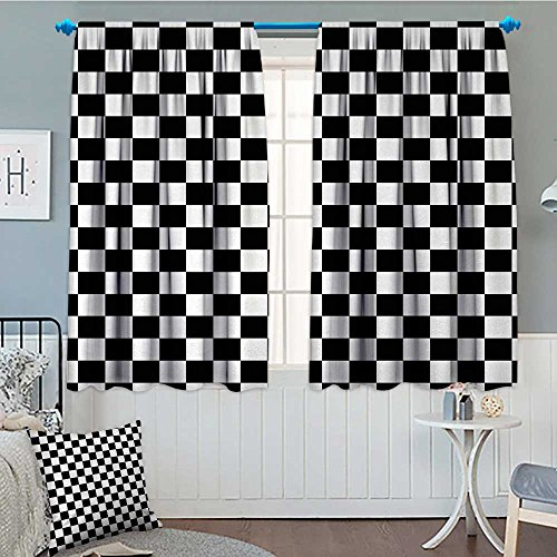 alilihome Checkers Game Window Curtain Fabric Geometric Grid Style Monochrome Squares in Traditional Game Board Design Drapes for Living Room 55