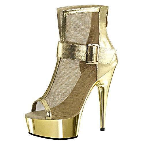 Heels-Perfect - Botas de Material Sintético para mujer Dorado - Gold (Gold)