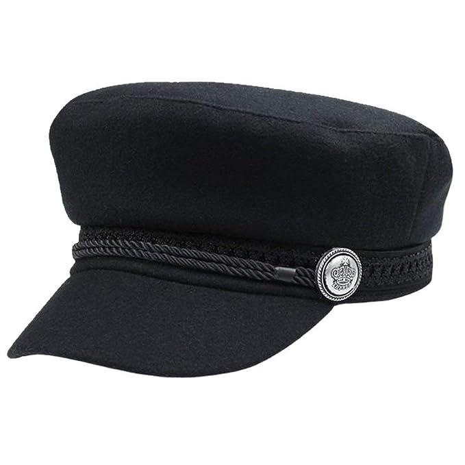 Gorros Mujer Vendedor De Pintor Button Periódicos Cap Hat Modernas Casual Lady Girls Negro 56 58Cm
