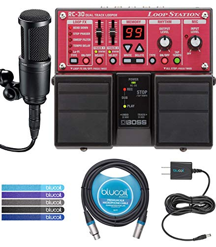 BOSS RC-30 Loop Station Bundle with Audio-Technica AT2020 Cardioid Condenser Microphone, Blucoil Slim 9V 670ma Power Supply AC Adapter, 10-FT Balanced XLR Cable, and 5-Pack of Reusable Cable Ties (Boss Rc 30 Dual Track Looper Loop Station)